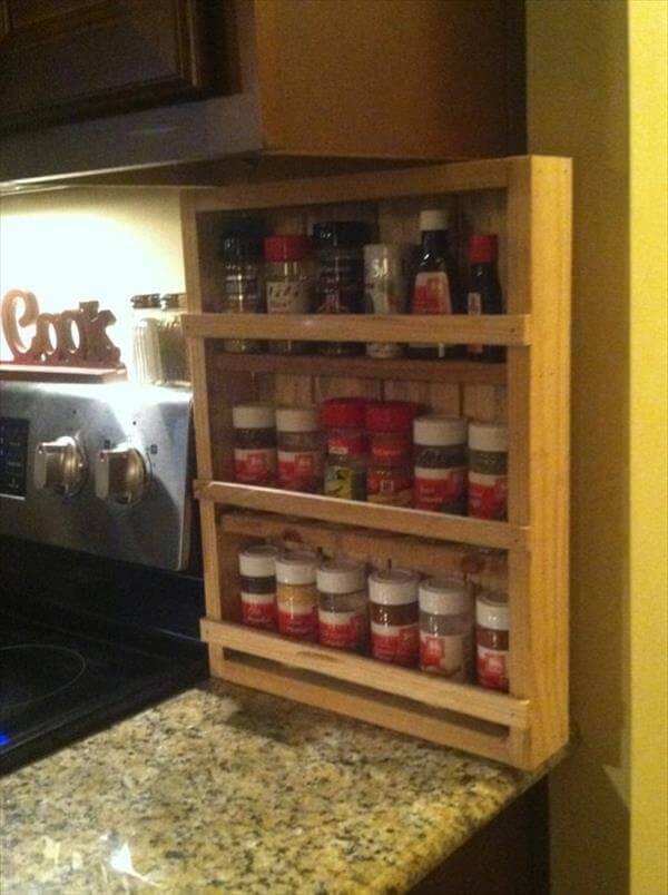 reclaimed pallet kitchen spice rack with 3 levels