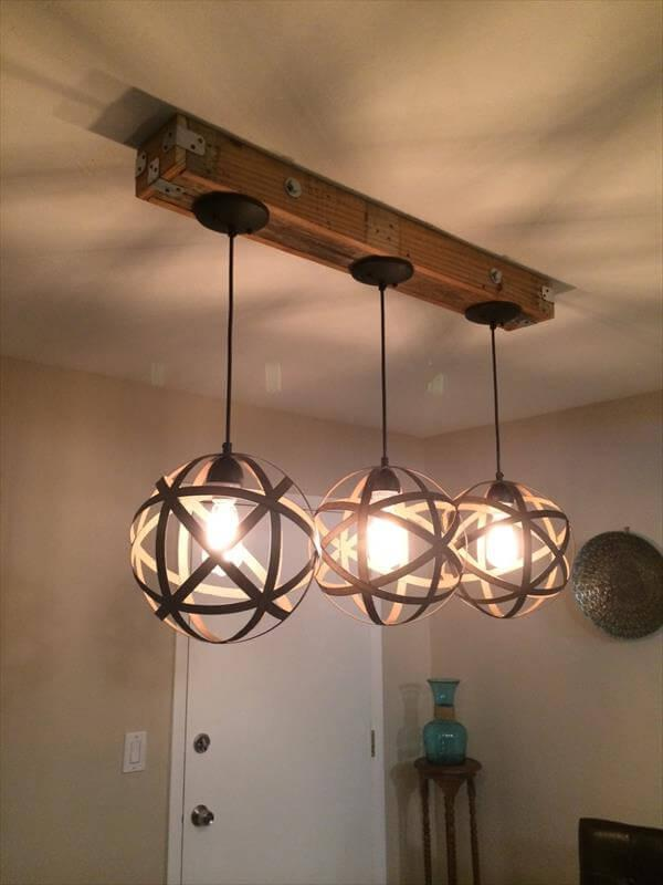 Captivating Repurposed Pallet Pendant Light Fixture Good Looking