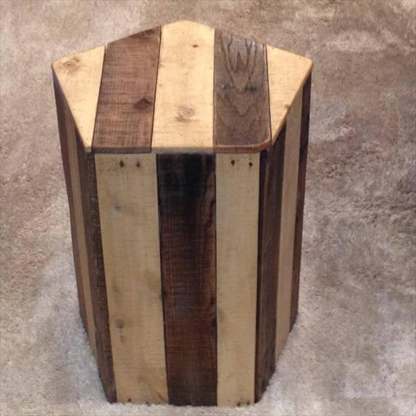two toned pallet pentagonal side table