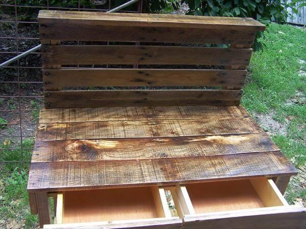 reused pallet potting bench with drawers