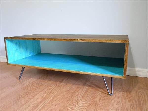 upcycled pallet retro styled coffee table