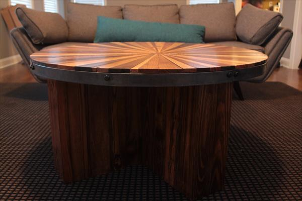 rustic yet modern pallet round topped coffee table