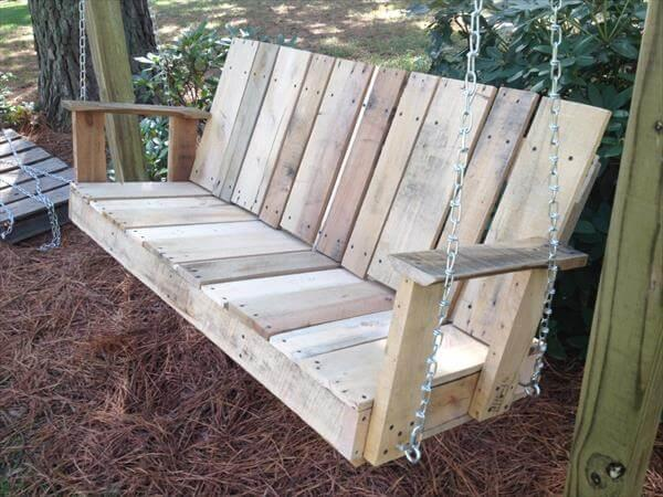 Diy Pallet Outdoor Two Seated Swing 101 Pallets