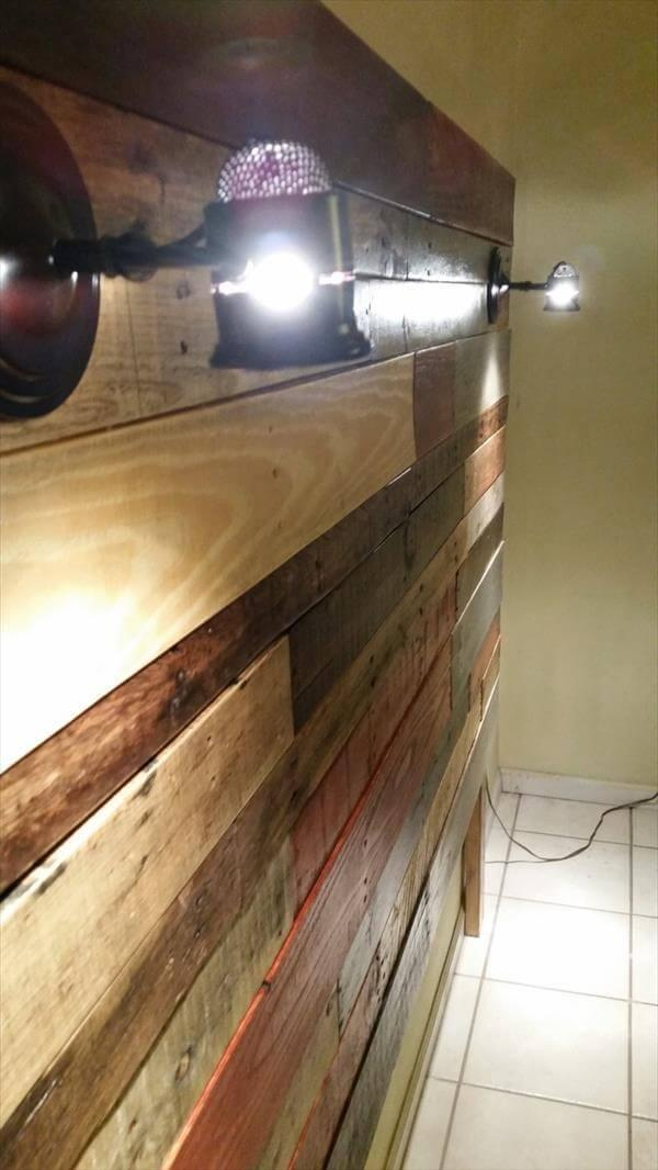 repurposed pallet colorful headboard with lights
