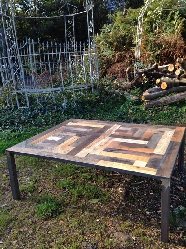 handmade pallet and iron coffee table