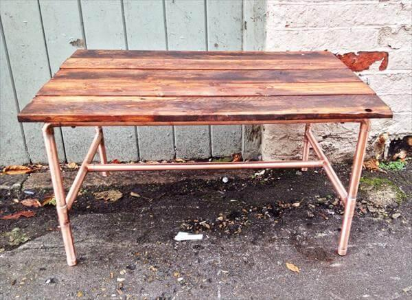 reclaimed pallet and copper coffee table