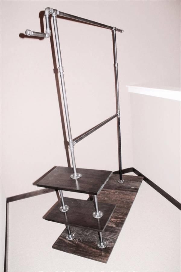 diy pallet iron pipe. Industrial Pallet Metal Clothing Rack Diy Iron Pipe E