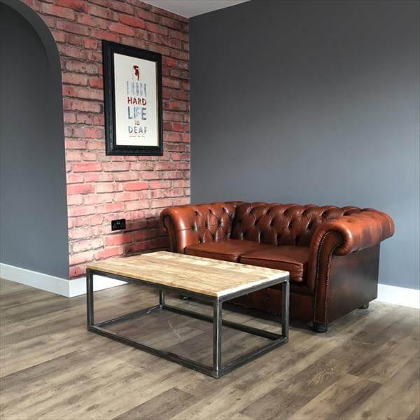 Industrial design pallet coffee table 101 pallets - Table basse en palette europe ...