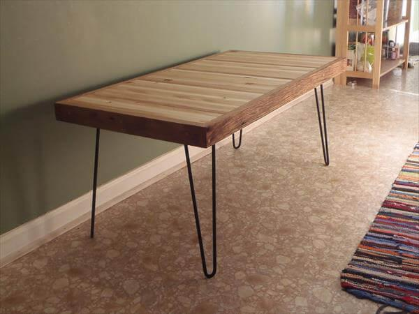 Pallet Coffee Table With Metal Hairpin Legs 101 Pallets