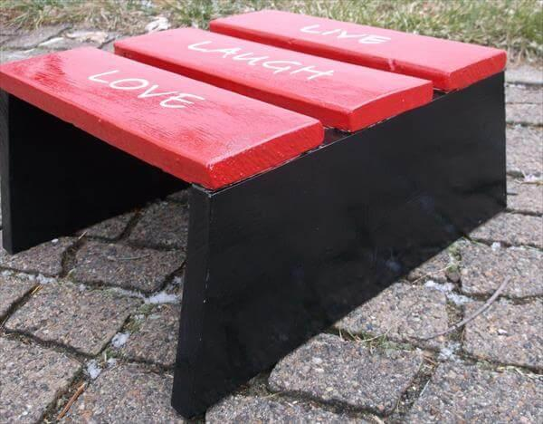 repurposed pallet painted slatted wood stool