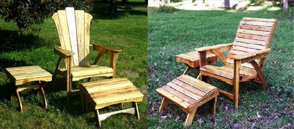 recycled pallet outdoor adirondack furniture