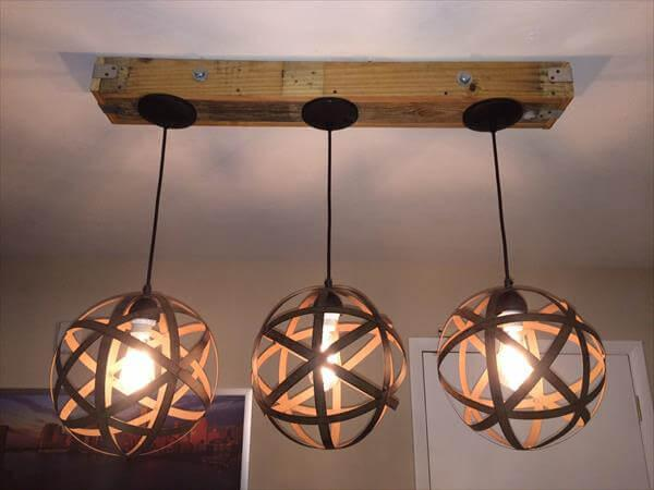 recycled pallet light fixture