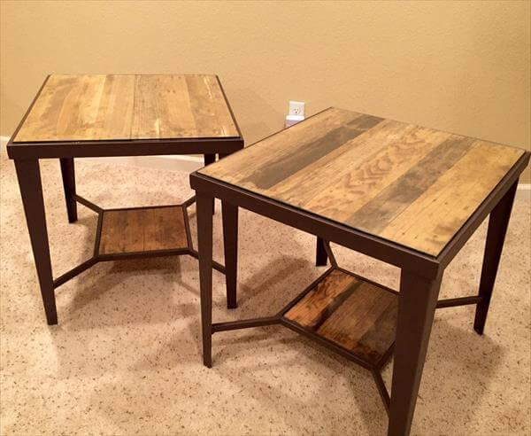 recycled pallet and metal side table
