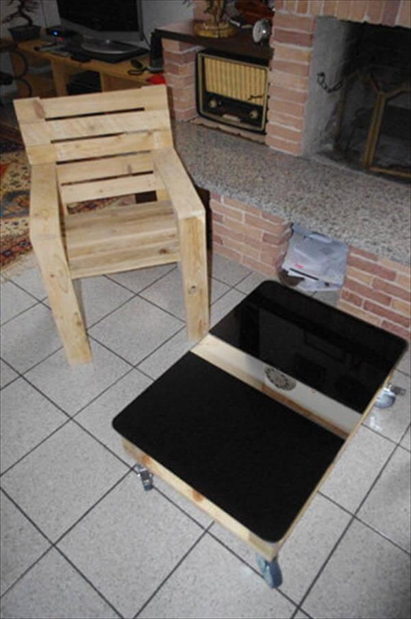 reclaimed pallet coffee table and chair