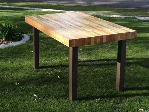 Upcycled Pallet Butcher Block Styled Table