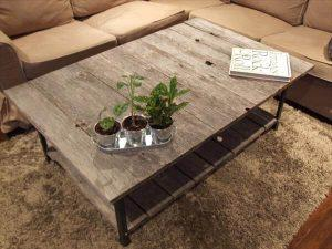 DIY Pallet Industrial Coffee Table with Shelf