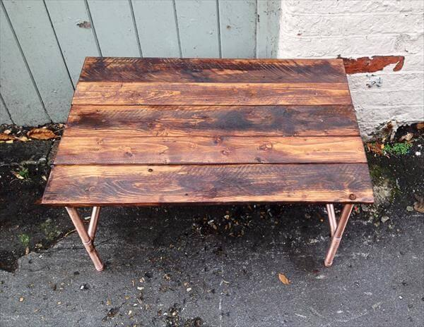 recycled pallet coffee table with copper base
