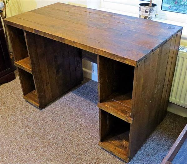 recycled pallet desk with storage