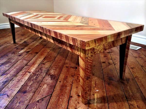 recycled pallet diamond burst pattern coffee table