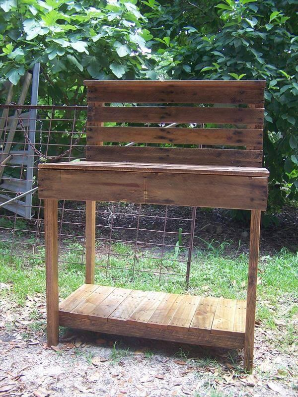 recycled pallet garden bench with storage