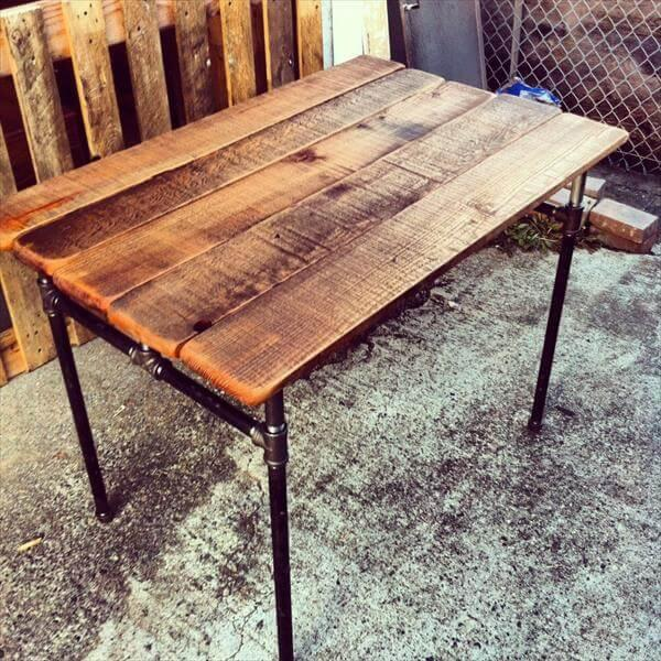 Recycled Pallet Iron Pipe Desk