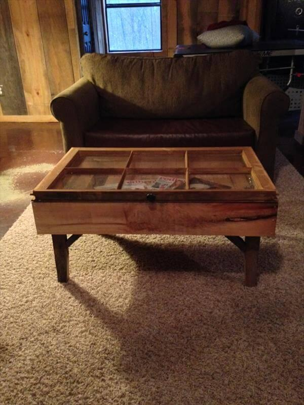 recycled pallet old window coffee table