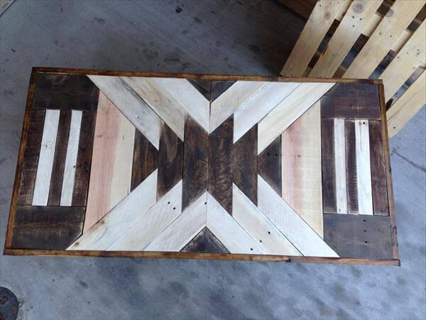recycled pallet patterned top coffee table