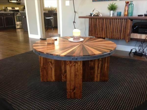upcycled pallet round topped coffee table