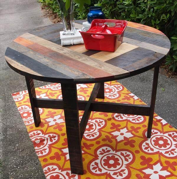 recycled pallet round top table