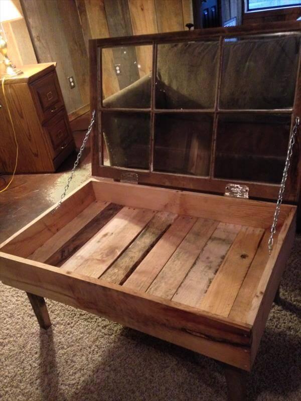 Repurposed Pallet Old Window Coffee Table