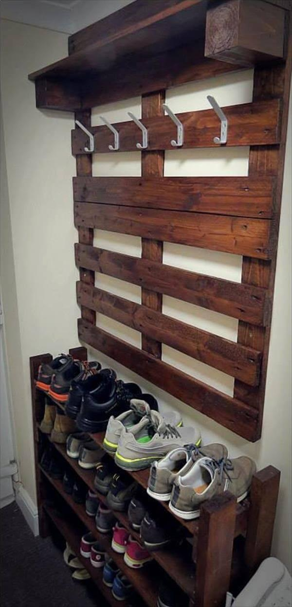 recovered pallet hallway coat rack and shoes rack