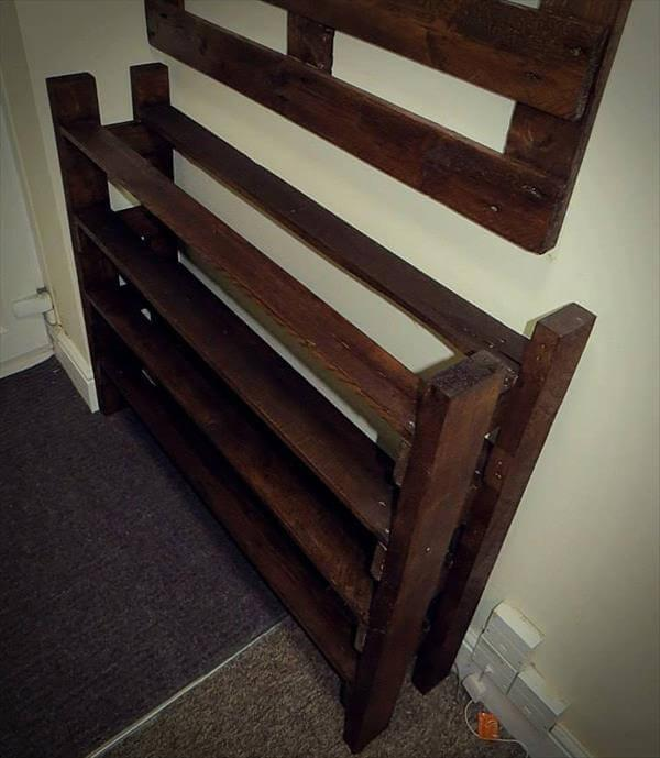 resurrected pallet coat rack and shoes rack