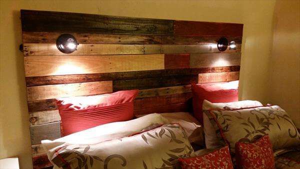 recycled pallet colorful headboard with lights
