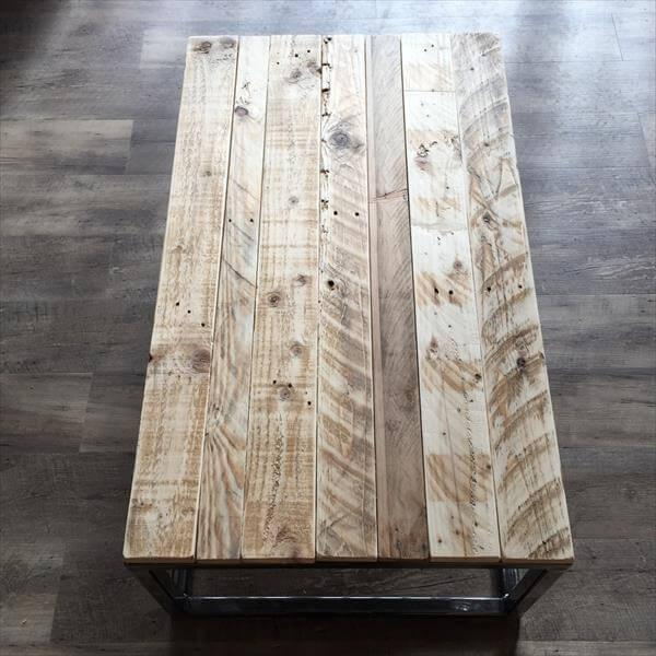 rustic pallet metal coffee table
