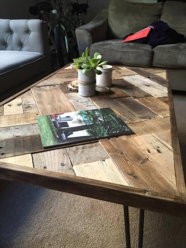 reclaimed pallet mosaic coffee table