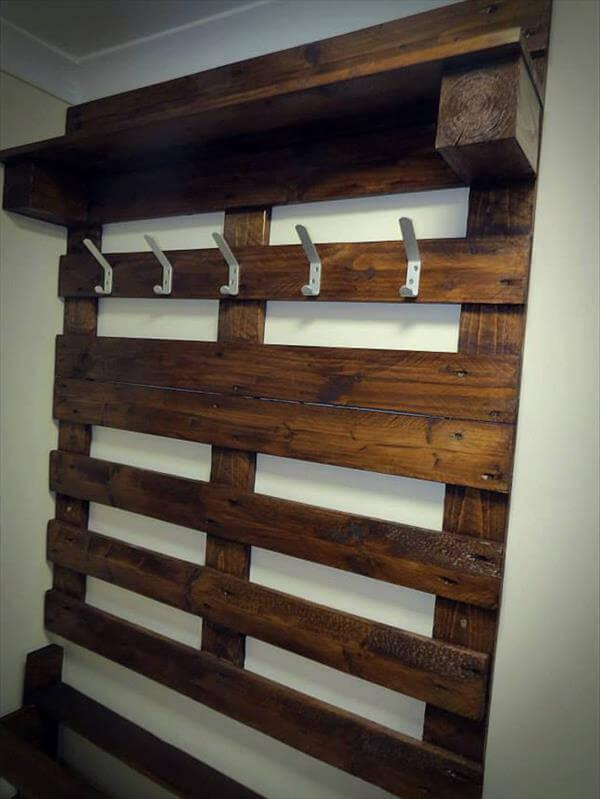 restored pallet coat rack and shoes rack