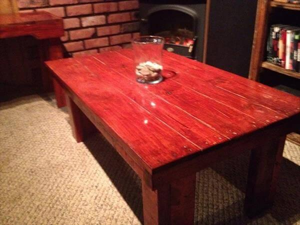 stained pallet coffee table and end tables