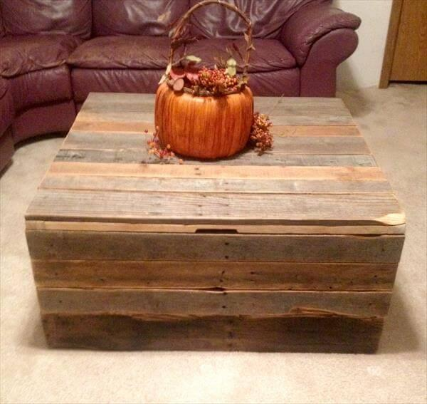 DIY Pallet Coffee Table Storage Trunk 101 Pallets