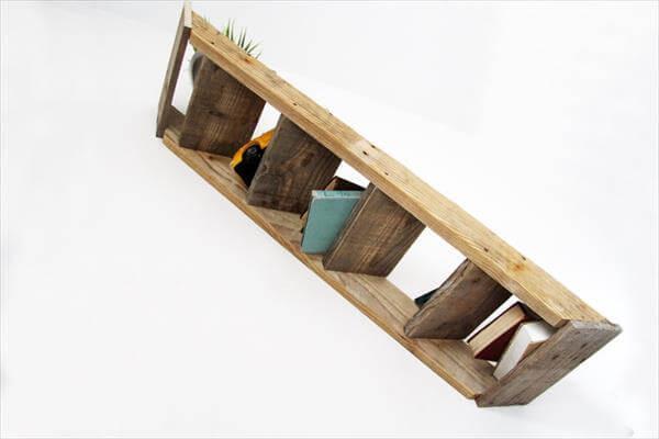 diy floating pallet wall stair shelf