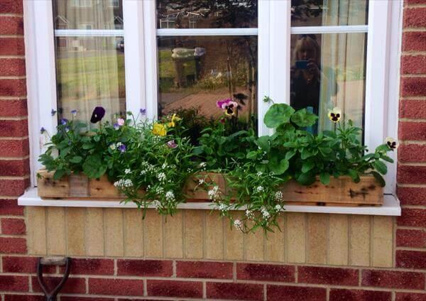 recycled pallet window planter