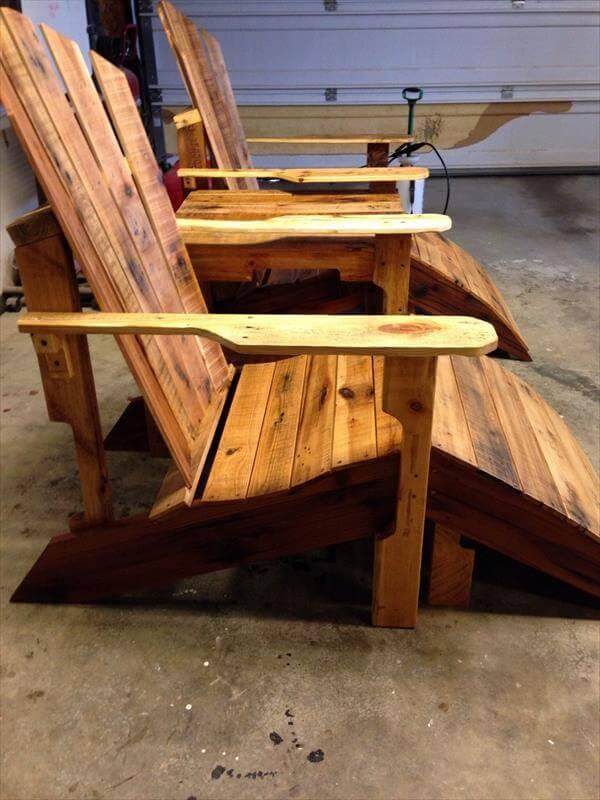 wooden pallet adirondack chairs with joining table
