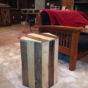 reclaimed pallet pentagonal side table