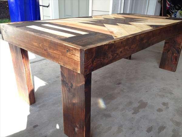 repurposed pallet patterned top coffee table