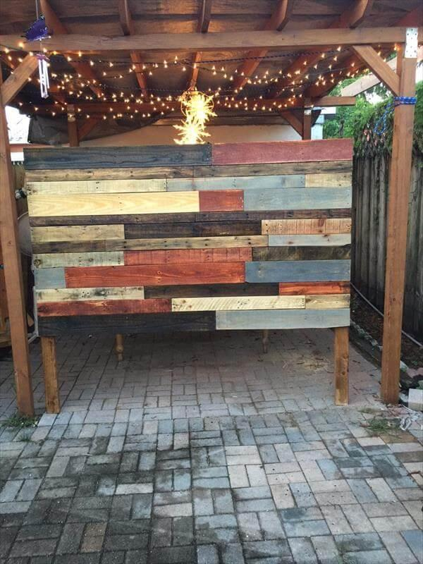 diy pallet colorful headboard with lights