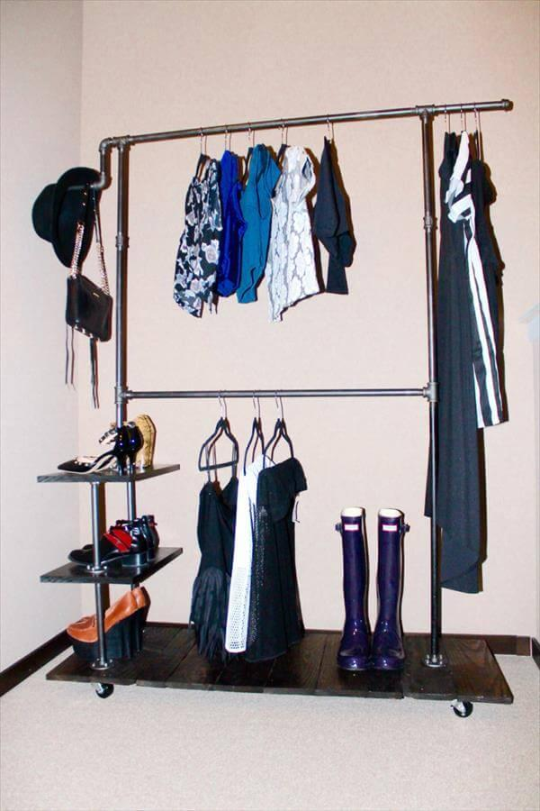 creative pallet industrial clothing rack