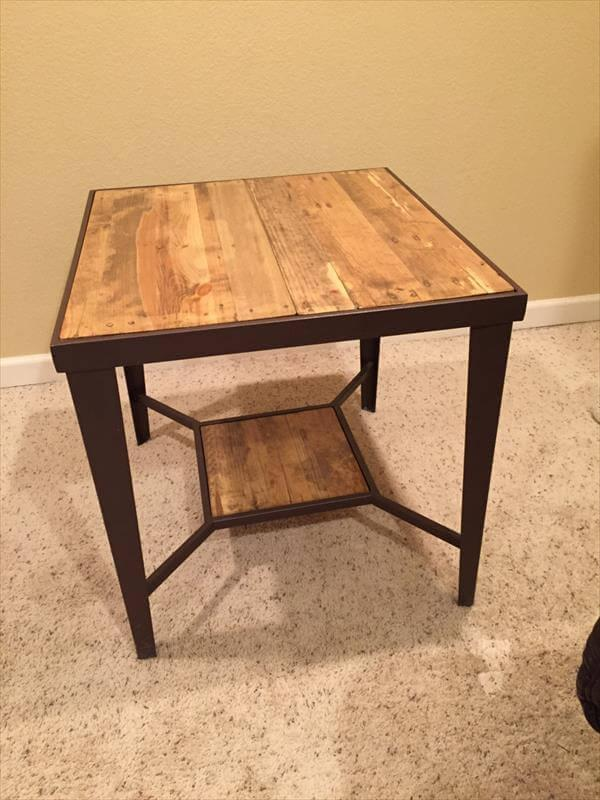 diy pallet and metal side tables