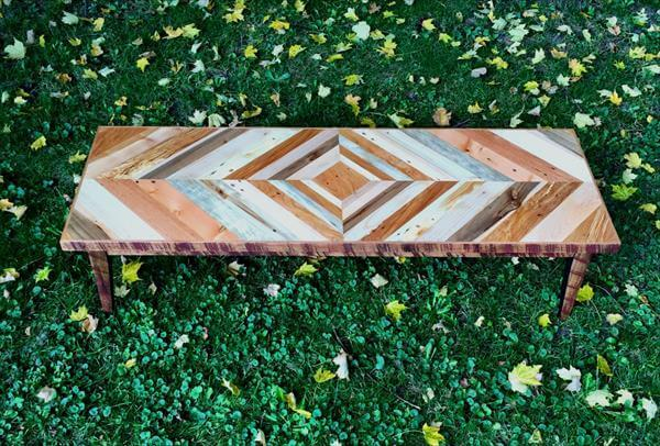 diy pallet diamond burst patterned top coffee table