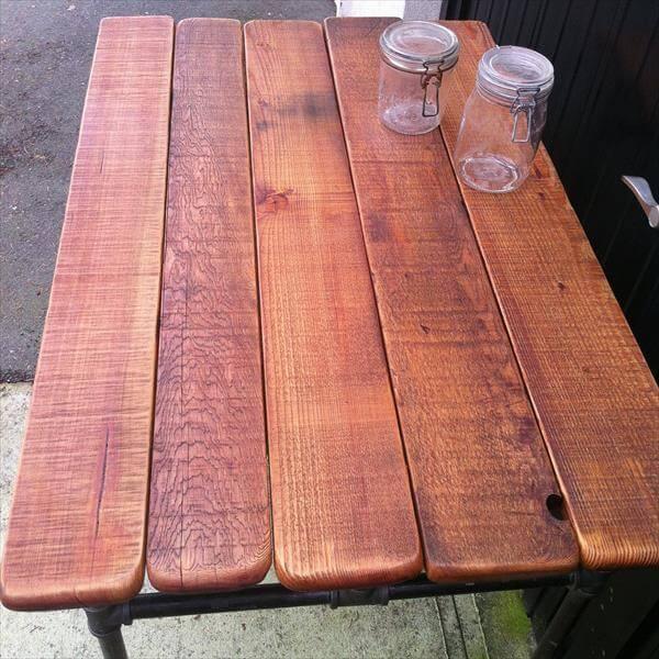 repurposed pallet iron pipe desk