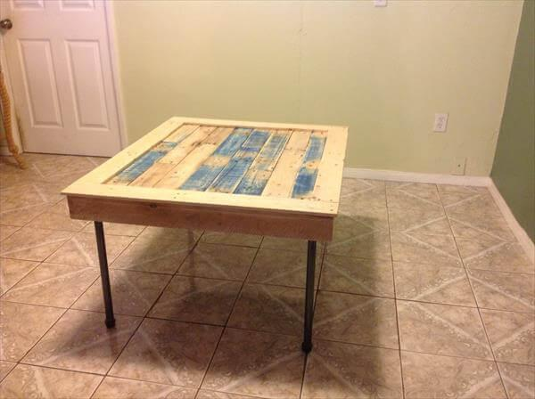 rustic yet modern pallet coffee table with iron pipe legs