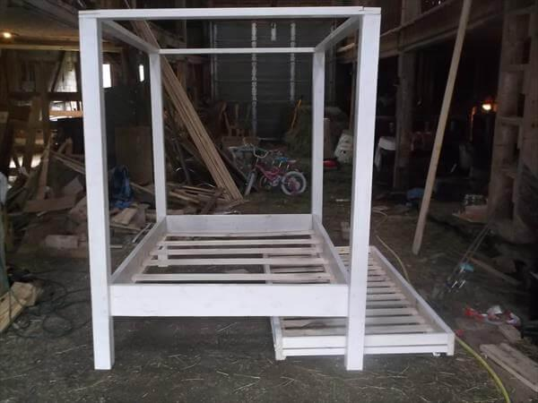 diy shabby chic white twin pallet canopy bed
